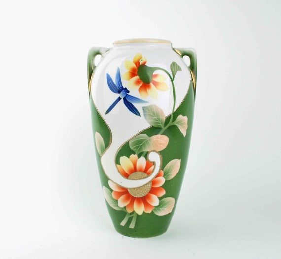 Antique Green Urn Vase // Royal Nishiki Nippon // Blue Dragonfly, Sunflowers, Gold Beaded Moriage, Handpainted Porcelain, Made in Japan