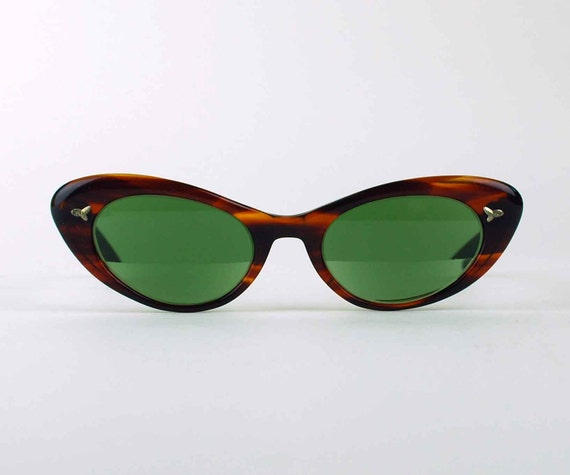 1950s Cat Eye Tortoise Frame Sunglasses, Vintage Women's Eyeglasses by Bausch and Lomb 5 1/2