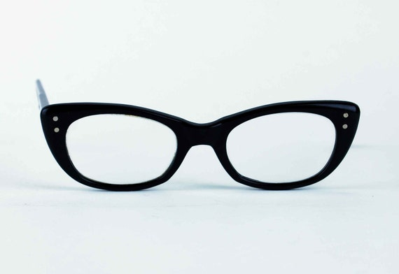 1960s Black Cat Eye Frames, Vintage Eye Glasses by Poco