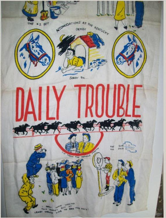 Vintage Kentucky Derby Linen Towel