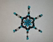 Medium Turquoise Snowflake Ornament