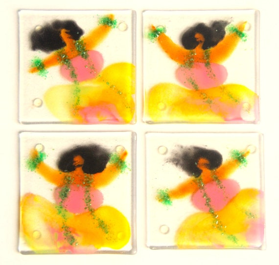 Glass coaster set of 4 Hula Halau dancers in sunrise colors