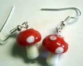 ADORABLE little red and white LAMPWORK mushroom earrings