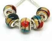 PRETTY multi colored Lampork european style 925 stamped beads