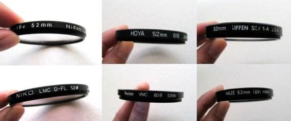 Camera lens filters set of 6, 52mm, Hoya, Nikon, Vivitar, with soft case