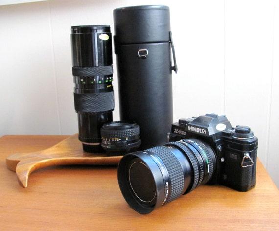Minolta x700 vintage SLR camera with lenses