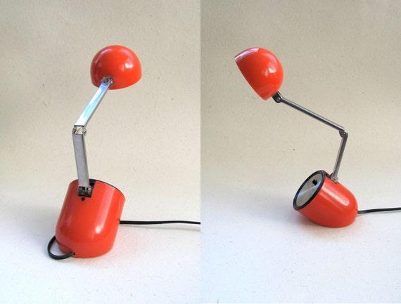 Vintage red orange small folding desk lamp