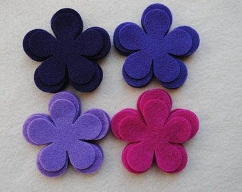 24 Piece Die Cut Felt Flowers, Purples, Flower Style No. 5A