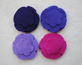 24 Piece Die Cut Felt Flowers, Purples, Flower Style No. 5