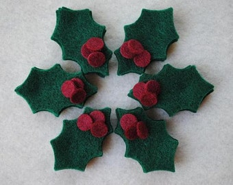 36 Piece Die Cut Felt Holly and Berries, Kelly Green