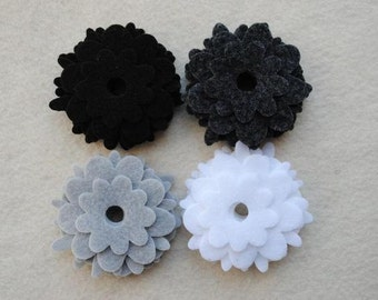 36 Piece Die Cut Felt Flowers, Black and White, Flower Style No. 3