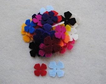 100 Die Cut Felt Lilac Flowers, Variety of Colors