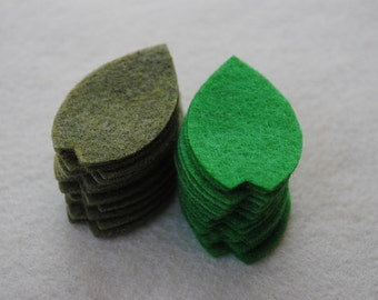 30 Piece Die Cut Felt Leaves, Style No. 4 in Olive and Apple Green