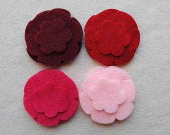 24 Piece Die Cut Felt Flowers, Reds, Flower Style No. 5