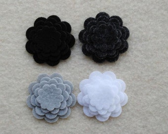 48 Piece Die Cut Tiny Felt Flower Set, Black and Whites