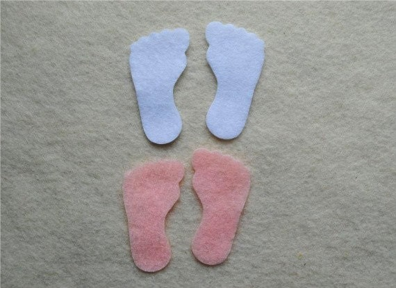 20 piece die cut felt baby feet in pink and white from. Black Bedroom Furniture Sets. Home Design Ideas