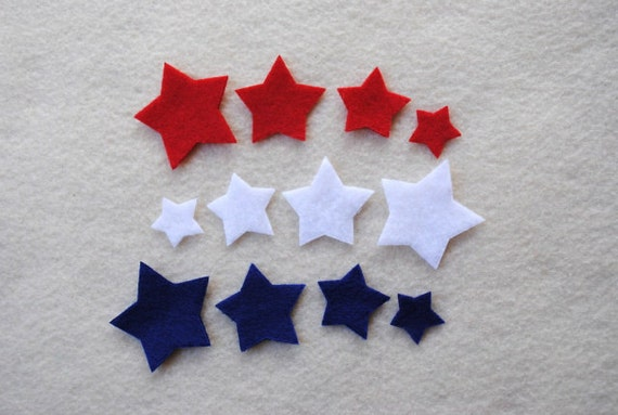 36 Piece Die Cut Felt Tiny Stars, Red, White and Blue