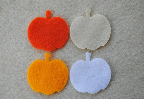 24 Piece Die Cut Felt Pumpkins, Style No.1