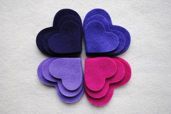 36 Piece Die Cut Felt Hearts, Purples