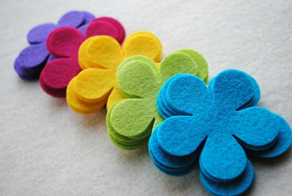 30 Piece Die Cut WOOL BLEND Felt Flower Set, Style No. 5A, Neon Rainbow