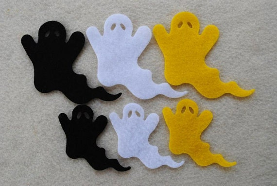 18 Piece Die Cut Felt Ghosts, Black White and Yellow