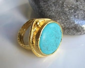 Turquoise Circle stone Gold Ring
