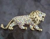 Vintage Aurora borealis Lion Rhinestone Gold accent Pin Brooch