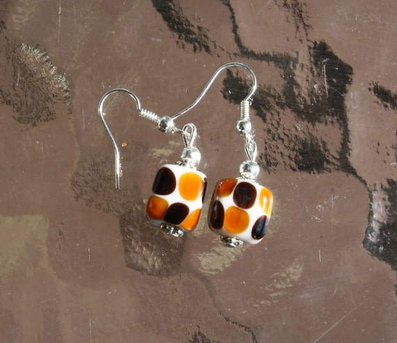 Dangle earrings statement square glass bead  with copper and black circles