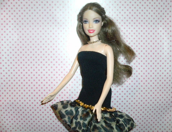 "upcycled sock, reborn into a strapless dress for an 11 1/2"" fashion doll, like Barbie"