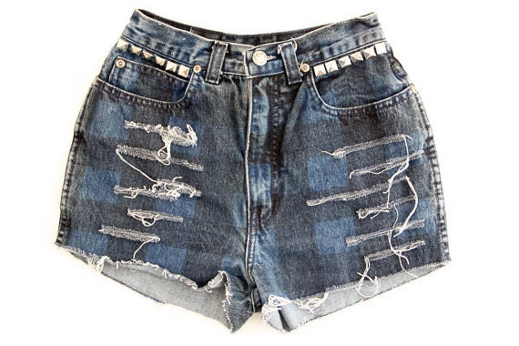 SALE Studded Shorts Vintage Distressed High Waisted Blue Plaid Black Jordache Denim Hipster Boho Hippie Upcycled Levi Extra Small XS W24