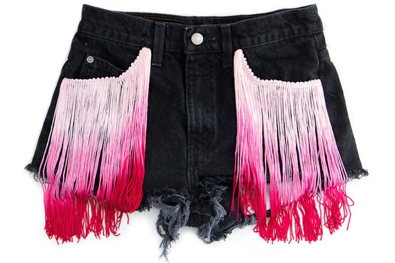 Ombre Fringe Shorts Pink Black Vintage Levi Distressed Hipster Cut Offs High Waisted Denim Upcycled Medium W28