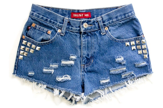 Studded Shorts Vintage Distressed High Waisted Blue Denim Hipster Boho Hippie Upcycled Levi Extra Small XS W27