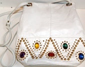 Vintage 80's White Leather Studded and Rhinestone Purse