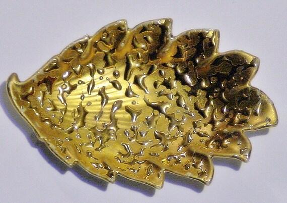 Vintage WEEPING Bright GOLD Stamped 22k U.S.A. Hand Decorated Leaf Design Dish