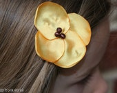 The Kaley Hair Clip- 4 Petal Satin Clip With Beaded Center-Yellow