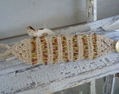 Macrame Cream Colored Cord Bracelet with Fall Mulit-colored Glass Beads