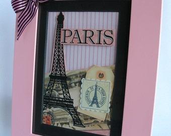 Paris Art, Collage, Pink, Paris, Eiffel tower, Pink Frame, Framed, Girls, Baby Girl, Paris Party, Paris Decor