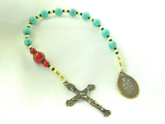 Turquoise Our Lady of Mt. Carmel tenner rosary