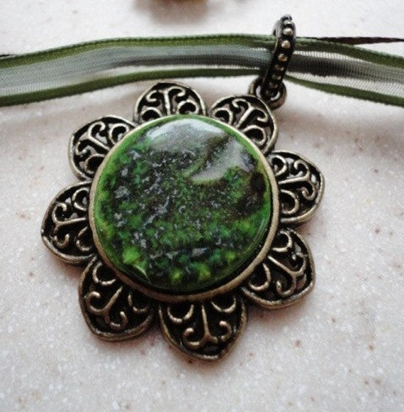 Green Bronze - Hand Built Original Art Ceramic Pendant Necklace in Metal Frame Bail on Genuine Leather Suede and Silk Cord Magnetic Clasps