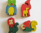 Vintage Dept. 56 Mini Wooden Animal Puzzles Colorful Wood Toys Squirrel Owl Lion Camel