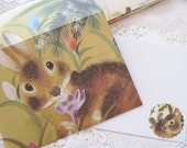 Run Rabbit, Envelopes and Flat Note Cards Upcycled Stationery Set of 6