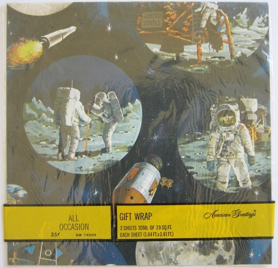 Vintage Astronaut Outer Space Wrapping Paper Gift Wrap Mint in Package American Greetings