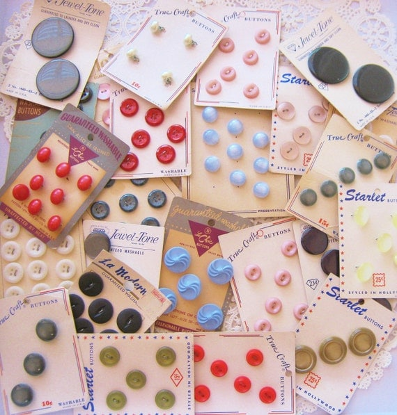 Vintage Carded Button Lot Plastic Sewing Buttons Original Cards