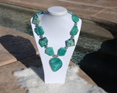Chunky Gorgeous Chrysocolla and Turquoise beaded necklace
