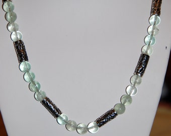 Sterling Silver and Green Fluroite beaded necklace, handmade necklace, one of a kind necklace, beaded necklace