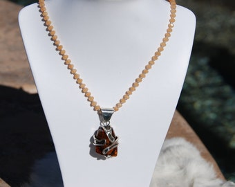 Wrapped Amber Pendant with Red Avent beaded necklace. beaded necklace, handmade necklace, One of a kind necklace