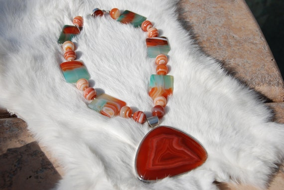 Large Chunky Carnelian and Agate Beaded necklace