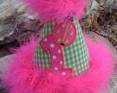 Custom Boutique Lime Green Gingham & Hot Pink Ladybug 1ST Birthday Hat
