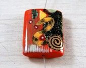 Porcelain Focal Bead Hand Painted Red Black Yellow Gold Pendant
