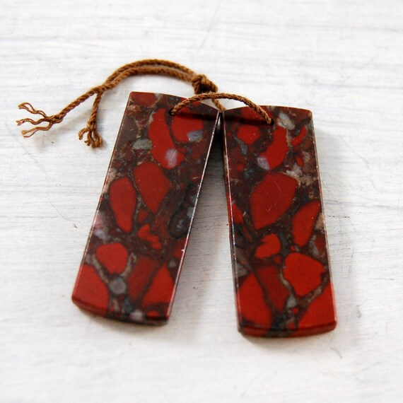 Red Brecciated Jasper Jasper matched pair flat Bookends Earrings